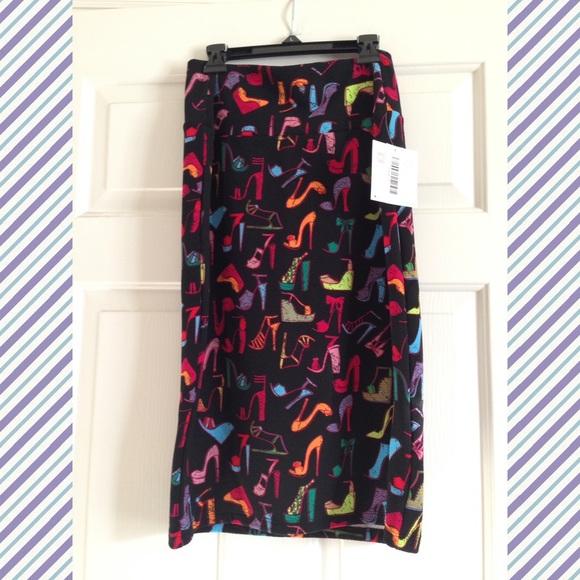 36f0ea862 LuLaRoe Skirts   Nwt Large Cassie Shoe Pattern Multicolor   Poshmark